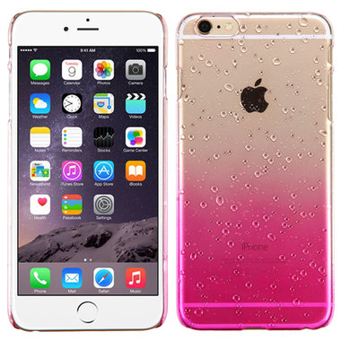 PINK CLEAR APPLE IPHONE 6 PLUS WATER DROPS HARD COVER CASE