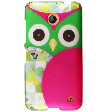NOKIA LUMIA 635 PINK GREEN HAWAIIAN OWL HARD COVER CASE