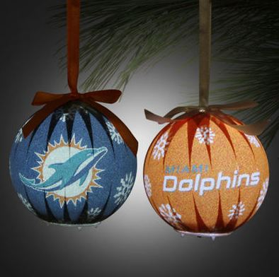 Miami Dolphins 6-Piece LED Boxed Ornament Set - Aqua/Orange