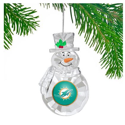 Miami Dolphins Traditional Snowman Ornament