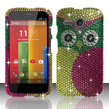 MOTOROLA MOTO G PINK GREEN OWL DIAMOND HARD COVER CASE