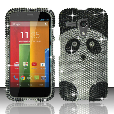 MOTOROLA MOTO G BLACK SILVER PANDA DIAMOND HARD COVER CASE