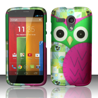 MOTOROLA MOTO G PINK GREEN OWL HARD COVER CASE