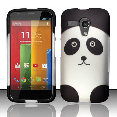 MOTO G BLACK SILVER PANDA HARD COVER CASE