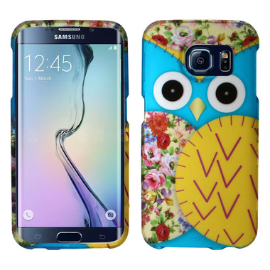 SAMSUNG GALAXY S6 EDGE YELLOW BLUE OWL SNAP ON HARD CASE COVER