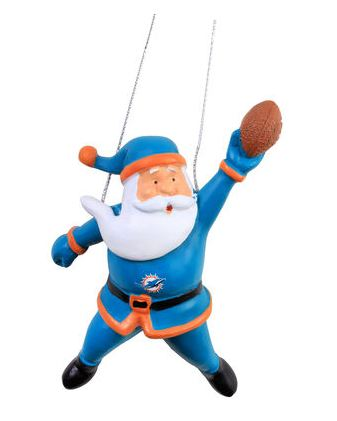 Miami Dolphins Action Santa Ornament