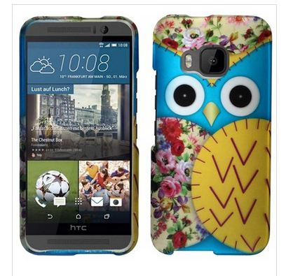 HTC ONE M9 YELLOW BLUE OWL SNAP ON HARD CASE COVER